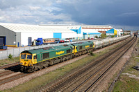 66620 and 66525 at  Loughborough on 21.4.12 with 6M92 1318 West Thurrock - Earles Sdgs empty LaFarge cement tanks