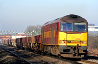 A powerful shot of 60100 in EWS livery at Loughborough South Junction on 13.2.08 with 6F76 Toton North Yard - Bardon Hill Quarry empty ballast wagons