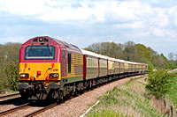 67019 leads Northern Belle Stock with 67002 at rear at Rearsby heading towards Syston East Junction on 26.4.09 with 5Z67 0945 Norwich Royal Dock Sdgs - Leicester ECS