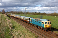 D6535 (33116) at Woodthorpe with a rake of mk1 brown liveried coaches on 29.3.15 with 1630 Loughborough - Leicester North service at the GCR Diesel Gala Spring 2015