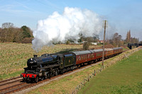 LMS Class 5 (Black Five) 4-6-0 No 45305 dashes through Woodthorpe on 6.4.15 with 1045 Loughborough - Leicester North service at the GCR Easter Vintage Festival