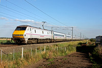 91131 with DVT 82211 at rear  at Broad Fen Lane, Claypole, heading towards Newark,  ECML on 12.9.12 with 1630 London Kings Cross - Edinburgh service