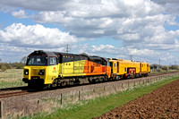 Colas Rail 70806 with Network Rail Tamper No DR73117 at Uffington near Peterborough on 11.4.15 with 6Z12 1115 Norwich Thorpe Ce Sidings - Rugby D.E.D. move