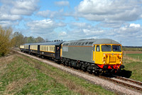 UK Rail Leasing Class 56 No 56104 passes Castor on 11.4.15 with 1122 Wansford - Peterborough service at the Nene Valley Railway Diesel Gala April 2015