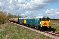 50008 'Thunderer' and 50015 'Valiant' cruise past Castor on 11.4.15 with 1202 Wansford - Peterborough service at the Nene Valley Railway Diesel Gala April 2015