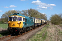 33109 'Captain Bill Smith RNR' glides past Castor on 11.4.15 with 1410 Peterborough - Wansford service at the Nene Valley Railway Diesel Gala April 2015