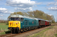 50008 'Thunderer' effortlessly passes Castor on 11.4.15 with 1530 Peterborough - Wansford service at the Nene Valley Railway Diesel Gala April 2015