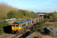 GBRf 66713 'Forest City' makes light work of climbing Bagworth Incline on the Leicester - Coalville line on 14.4.15 with 6M79 1156 Angerstein Wharf - Bardon Hill empty 4 wheeled aggregate hoppers