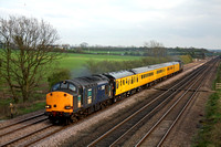 37607 & 37611 at Cossington heading north towards Sileby Junction on 1.4.11 with 3Z11 1728 Old Dalby - Derby RTC Serco working