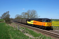 Colas Rail 56078 is seen at Chellaston heading towards Castle Donington on 18.4.15 with 6E07 1108 Washwood Heath Met.Cammel -Boston Docks empty covered IHA steel carriers