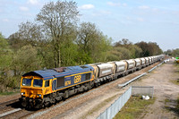 66744 'Crossrail' passes Stenson Junction on 20.4.15 with 6Z32 1051 Tinsley Yard - Coton Hill Tc empty aggregate hoppers