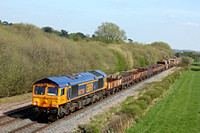 GBRf 66759 races through Barrow Upon Trent heading towards Stenson Junction on 20.4.15 with 6K50 1513 Toton North Yard to Crewe Bas Hall S.S.M. departmental