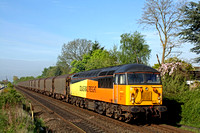 Colas Rail 56113 shatters the morning peace at Attenborough between Long Eaton & Beeston on 8.5.15 with 6E07 0435 Washwood Heath Met.Cammel - Boston Docks empty covered steel carriers