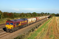 66110 at Cossington, MML heading towards Syston East Junction on 3.10.12 with 6L39 1018 Mountsorrel - Trowse loaded stone hoppers