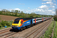EMT HST 43050 with 43048 at rear roars past the bi-direction line loop at Kilby Bridge, MML on 12.5.15 with 1D42 1415 St Pancras International - Nottingham service