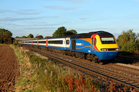EMT HST 43089 with 43081(rear) at Thurmaston heading into Leicester on 10.10.12 with 1628 Nottingham - London St. Pancras International service