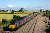 XC HST 43384 with rear power car 43285 power through Elford near Tamworth on 9.7.15 with 1V46 0640 York - Plymouth service