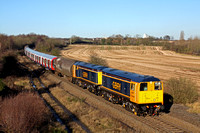 20901+20905 looking fantastic in GBRF colours lead 20311+20314 (rear) at Bagworth Incline heading towards Knighton Junction on 5.12.12 with 7X23 0933 Derby Litchurch Lane - Old Dalby LUL S Stock
