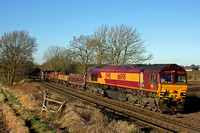 66098 at Chellaston heading towards Castle Donington on 5.12.12 with 6D44  1109 Bescot Up Engineers Sidings to Toton North Yard short t departmental train  in lovely winter sun