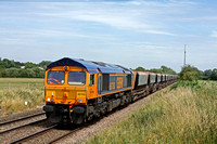 66760 at Narborough heading towards Hinckley on 10.7.15 with 6M47 0947 Neasden Charrington - Croft Quarry empty Bardon hoppers