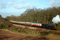 LMS Ivatt Class 2 No 46521 at Kinchley Lane on 9.12.12 with 1310 Loughborough - Leicester North GCR Santa Deluxe  service