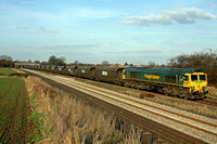 66510 at Thurmaston heading towards Leicester on 17.2.13 with 4Z24 1400 SuN Only Barrow Hill - Daw Mill empty  FHH HHA Wagons