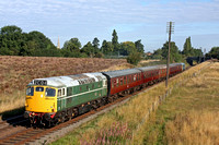 D5401 with guest loco 5081 at rear roars through Woodthorpe, GCR on 6.9.15 with 0920 Loughborough - Rothley Brook shuttle service at the GCR Autumn Diesel Gala 2015