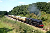 Black 5 No 45305 drifts past an overgrown Kinchley Lane, GCR on 6.9.15 with 1320 Loughborough - Leicester North 'The Elizabethan' dining train at the GCR Autumn Diesel Gala 2015
