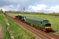 D123 with GCR steam breakdown crane and brake van at Woodthorpe on 27.4.13 heading for Quorn & Woodhouse Sdgs to re-rail  LMS Ivatt Class 2 2-6-0 No 46521 which had derailed shunting TPO coaches