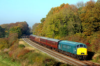 45041 'Royal Tank Regiment' looks magnificent set against the splendid autumn colours at Kinchley Lane on 1.11.15 with 1300 Loughborough - Leicester North GCR service