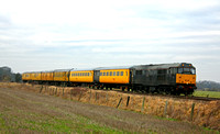 31459 + DB977985, 72630, 999508, 6263, 999602, DBSO 9703 at Kirby Bellars near Melton Mowbray on 24.1.11 with 3Z10  0830 Derby RTC - Old Dalby Serco Test Train