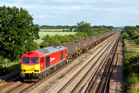 60020 in DB Schenker livery at Cossington, MML heading towards Sileby Junction on 8.7.13 with 6E38 1354 Colnbrook Elf Oil Sdg - Lindsey Oil Refinery empty bogie tanks.