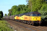 Colas Rail Freight 47727 & 47749 at Attenborough heading towards Nottingham on 13.5.10 with 6Z56 0602 Washwood Heath - Boston Docks empty steel carriers