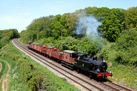 LMS 3F Jinty No 47406 at Kinchley Lane on 26.5.13 with 1335 Loughborough - Swithland Sdgs demonstration freight  at the GCR Steam Enthusiasts Event - A Local Weekend!