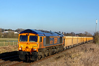66731 'InterhubGB' at Narborough heading towards Hinckley on 9.2.15 with 6G16 1124 Cliffe Hill Stud Farm - Bescot Up Engineers Sdgs loaded yellow Network Rail  IOA ballast wagons