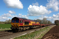 66127 rattles through East Goscote heading towards Syston East Junction on 17.4.16 with 6B02 1100 Manton Jn -Toton North Yard engineers train