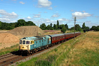 Preserved Diesel D6535 in need of some TLC passes the soil hills of Woodthorpe on 30.7.16 with 0930 Loughborough - Leicester North GCR service