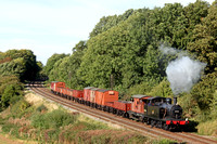 LMS Jinty No 47406 at Kinchley Lane on 6.10.13 with 1400 Loughborough - Swithland Sdgs demo freight at the GCR  Autumn Steam Gala October 2013