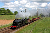 LMS Class 5 (Black Five) 4-6-0 No 45305 at a sunny Woodthorpe on 22.5.16 with 1015 Loughborough - Swithland Sdgs demo freight at the GCR Railways at Work Gala 2016