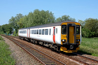 Abellio Greater Anglia Class 156 No 156422 approaches Haddiscoe on 6.6.16 with 2J78 1405 Norwich - Lowestoft service