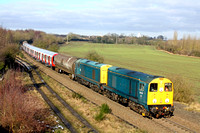 Blue 20107 & 20096 with Railfreight grey 20118 & 20132 at rear at Bagworth Incline heading towards Knighton Junction, Leicester on 6.2.15 with 7X23 0933 Derby Litchurch Lane - Old Dalby Lul Dept S.Sto