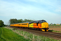 Colas Rail 37421 fitted with minature snow plough passes East Goscote heading towards Syston East Junction on 9.5.16 with 3Z11 1628 Old Dalby - Derby R.T.C.(Network Rail) test train