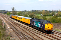 37609 tnt 37602 work wrong line at Trowell Junction to take the Nottingham line on 5.5.16 with 1Q50 1340 Derby R.T.C.(Network Rail) - Doncaster West Yard test train