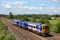 Northern Rail 158904 crosses over lines for Nottingham at Trowell Junction on the Erewash Valley Line on 5.7.16 with 1Y37 1405 Leeds - Nottingham service