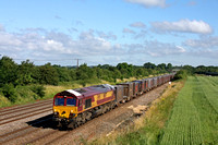 66177 with white cab roof to protect against the heat from sun passes Cossington, MML on 14.7.16 with 6M82 0519 Drax Power Station - Hotchley Hill East Leake loaded gypsum containers