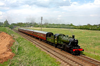 Ivatt Class 2 2-6-0 No.46521 now repainted in BR green livery passes Woodthorpe on 8.5.16 with 1515 Loughborough - Leicester North GCR service