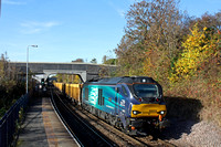 DRS 68023 'Archilles' rumbles through South Wigston station heading towards Leicester on 2.11.16 in charge of 6U76 0859 Crewe Bas Hall S.S.M. - Mountsorrel Sdgs empty IOA wagons