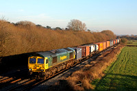 66594 'Spirit of Kyoto'passes a colourful Barrow Upon Trent heading towards Stenson Junction  in the low setting sun on 20.1.17 with 4O95 1213 Leeds F.L.T. - Southampton M.C.T. liner