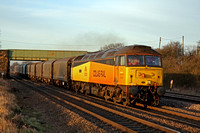 47727'Rebecca' in the low setting sun at Cossington,MML heading towards Leicester on 19.1.11 with 6Z57 1314 Boston Docks - Washwood Heath loaded steel wagons which now returns via Leicester