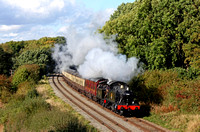 In the glorious Autumn colours, Tank engines SVR guest GWR Prairie No 4566 & LMS Jinty No 47406 at Kinchley Lane on 16.10.16 double heading the 1415 Loughborough - Leicester North GCR service